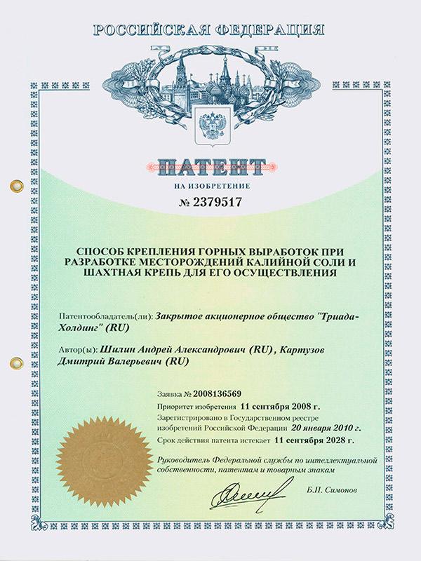 Патент №2379517 Способ крепления горных выработок при разработке месторождений калийной соли и шахтная крепь для его осуществления